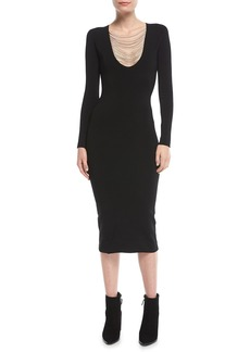Alexander Wang Long-Sleeve Chain-Trim Midi Dress