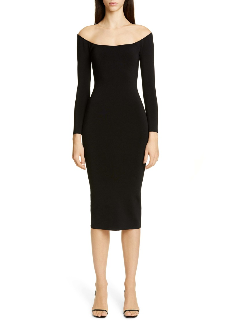 Alexander Wang Long Sleeve Illusion Neck Body-Con Sweater Dress