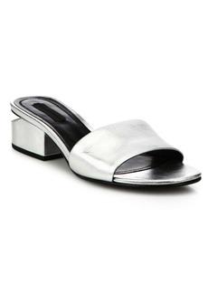 Alexander Wang Lou Tilt-Heel Metallic Leather Slides