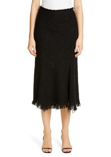 Alexander Wang Metallic Wool Blend Fringe Tweed Midi Skirt
