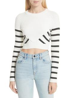 T by Alexander Wang Multistripe Crop Sweater