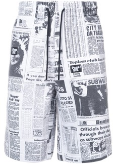 Alexander Wang newspaper print shorts - White
