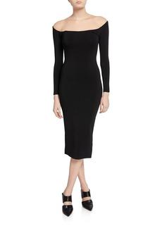 Alexander Wang Off-the-Shoulder Illusion Long-Sleeve Sheer Yoke Midi Dress