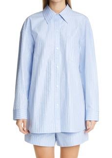 Alexander Wang Oversize Crystal Hot Fix Stripe Button-Up Shirt