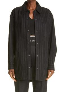 Alexander Wang Oversize Pinstripe Snap Front Shirt