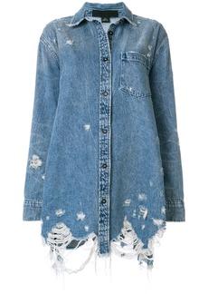 Alexander Wang oversized distressed denim jacket - Blue