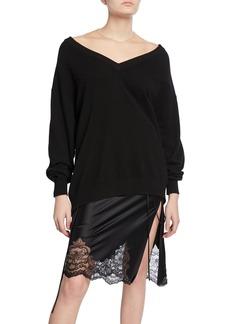 Alexander Wang Oversized Long-Sleeve Pullover with Sheer Yoke
