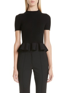 Alexander Wang Peplum Hem Ribbed Sweater