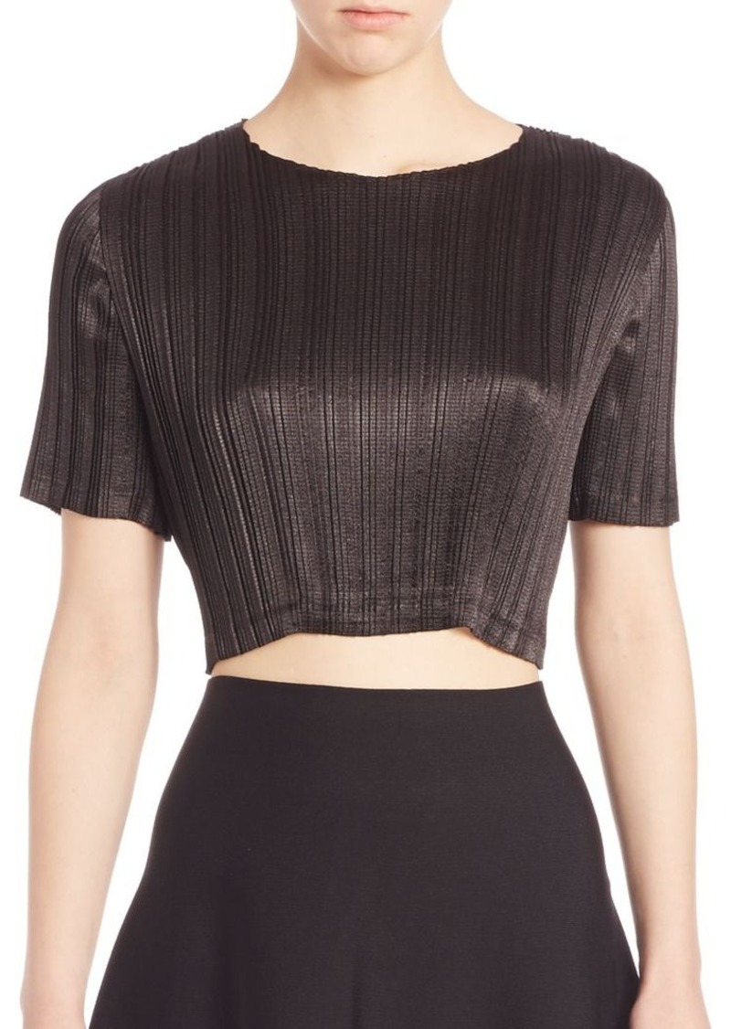 Alexander Wang Pleated Lace-Inset Cropped Top