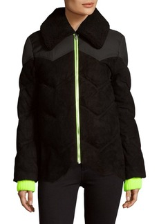 Alexander Wang Quilted Suede Puffer Coat