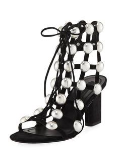 Rainy Caged Studded Ankle-Tie Sandal