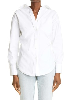 Alexander Wang Ruched Open Back Long Sleeve Cotton Shirt
