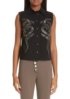 Alexander Wang Safety Pin Mesh Back Blouse
