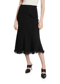 Alexander Wang Shimmery Tweed A-Line Midi Skirt with Frayed Edges