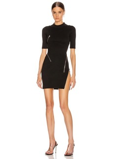 Alexander Wang Short Sleeve Traveling Zip Rib Dress