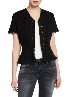 Alexander Wang Short-Sleeve Tweed Jacket with Frayed Edges