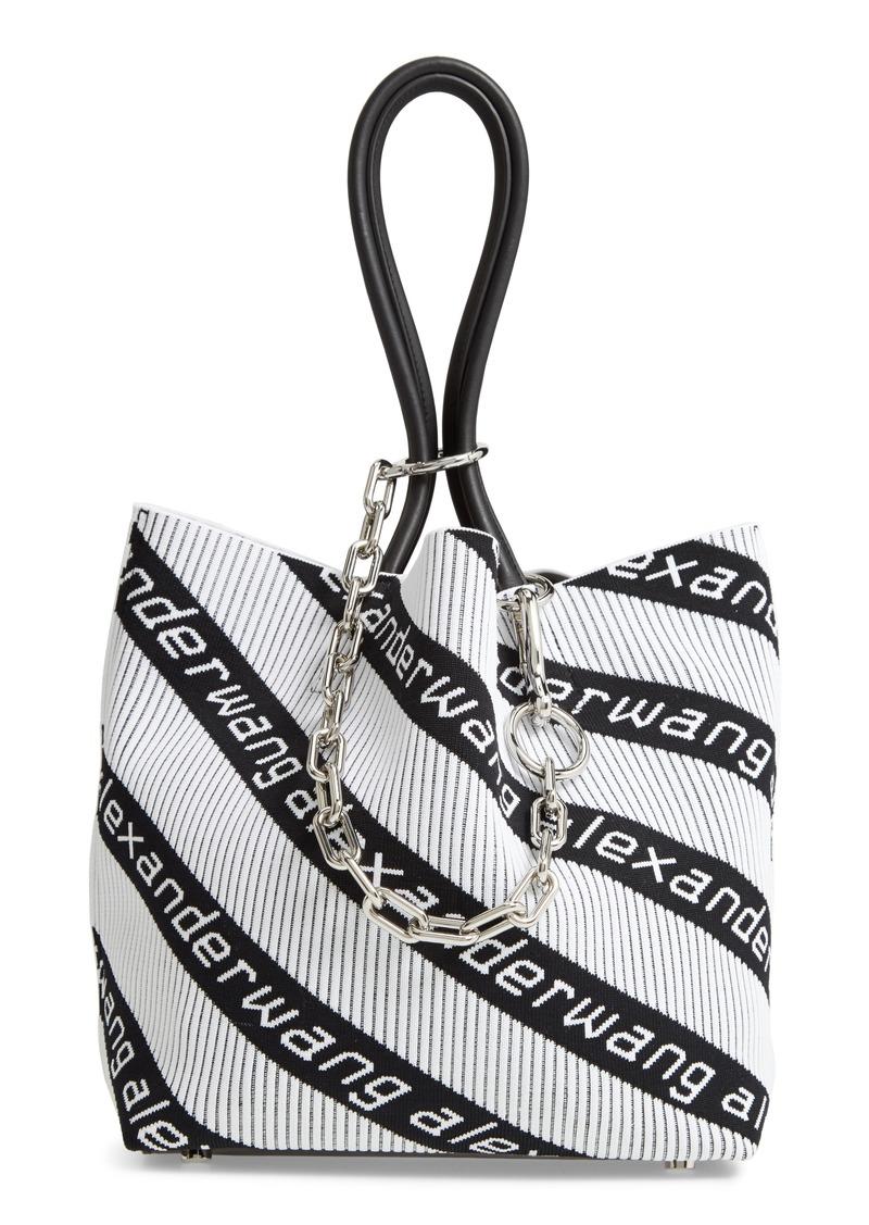 Alexander Wang Small Roxy Logo Knit Jacquard Tote