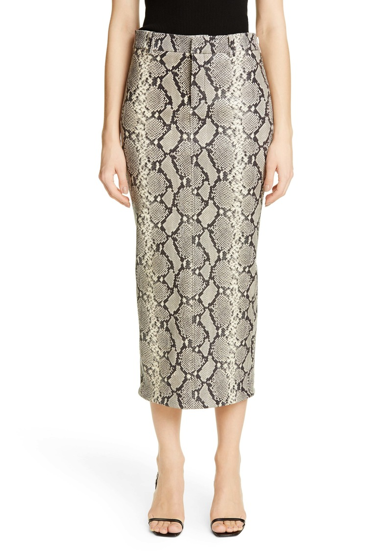 Alexander Wang Snake Embossed Leather Midi Pencil Skirt