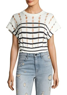 Alexander Wang Striped Cotton Knit Cropped Top