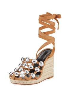 Alexander Wang Taylor Clay Suede Wrap Wedge Sandal