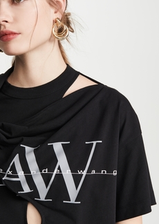 Alexander Wang Tie Neck Tee with Logo Print