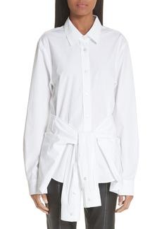 Alexander Wang Tie Waist Cotton Poplin Shirt