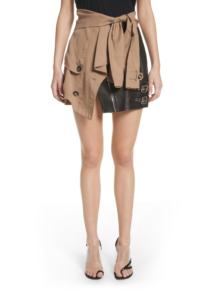 Alexander Wang Trench Combo Leather Miniskirt
