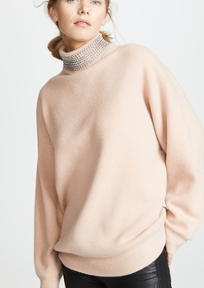 Alexander Wang Turtleneck Pullover with Crystal Neck Trim