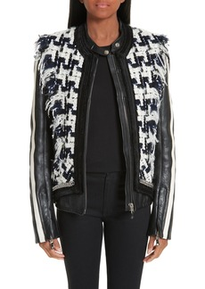 Alexander Wang Tweed Trim Leather Jacket