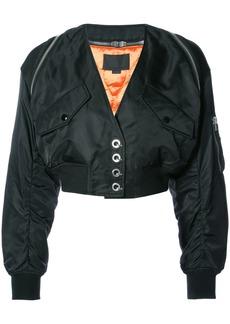 Alexander Wang V-neck cropped bomber jacket - Black