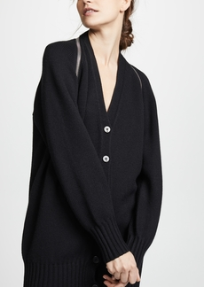 Alexander Wang V Neck Logo Zip Wool Cardigan