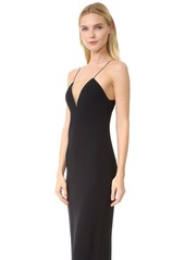 Alexander Wang V Neck Slip Gown with Sheer Insert