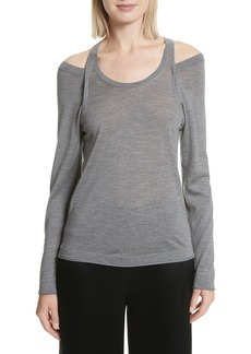 T by Alexander Wang Wash & Go Cold Shoulder Merino Wool Sweater
