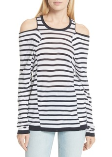 T by Alexander Wang Wash & Go Cold Shoulder Merino Wool Blend Sweater