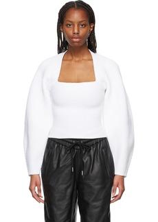 Alexander Wang White Ribbed Shrug Pullover Sweater