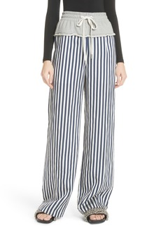 Alexander Wang Wide Leg Terry & Poplin Combo Pants