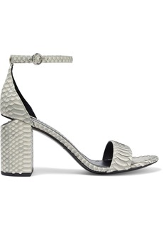 Alexander Wang Woman Abby Cutout Snake-effect Leather Sandals Stone