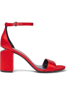 Alexander Wang Woman Abby Ostrich-effect Satin Sandals Tomato Red