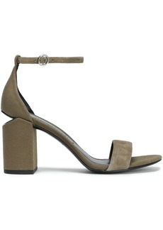 Alexander Wang Woman Abby Suede And Canvas Sandals Army Green