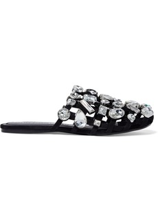Alexander Wang Woman Amelia Cutout Crystal-embellished Suede Slippers Black