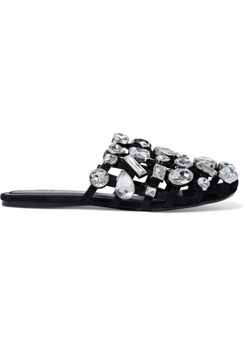 Alexander Wang Woman Amelia Cutout Crystal-embellished Suede Slippers Black