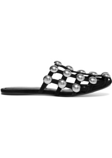 Alexander Wang Woman Amelia Cutout Studded Suede Slippers Black
