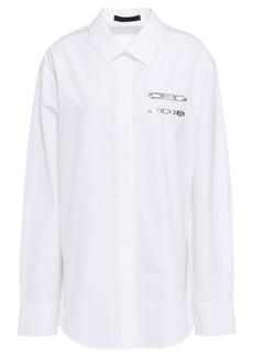 Alexander Wang Woman Appliquéd Cotton-poplin Shirt White