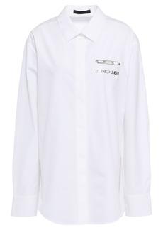 Alexander Wang Woman Appliquéd Cotton-poplin Shirt White