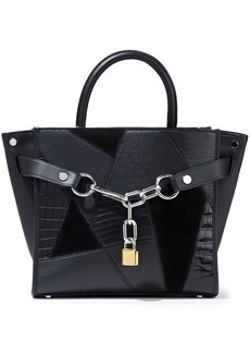 Alexander Wang Woman Attica Chain-embellished Patchwork Leather And Suede Shoulder Bag Black