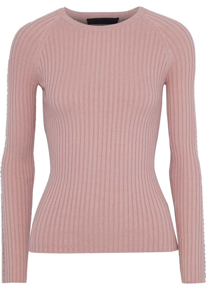 Alexander Wang Woman Bead-embellished Ribbed Cotton-blend Sweater Antique Rose