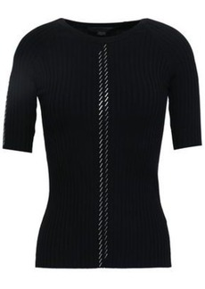 Alexander Wang Woman Bead-embellished Ribbed Cotton-blend Top Black