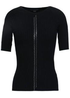 Alexander Wang Woman Bead-embellished Ribbed Cotton-blend Top Black