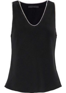 Alexander Wang Woman Bead-embellished Silk Crepe De Chine Top Black