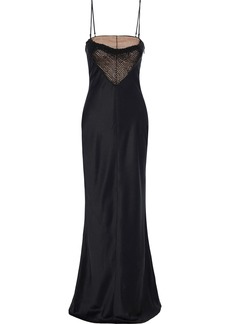Alexander Wang Woman Bead-embellished Tulle-paneled Silk-satin Gown Black